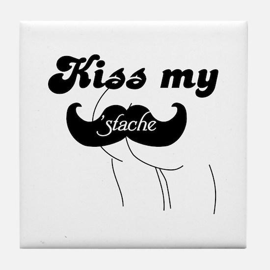 Kiss my stache Tile Coaster