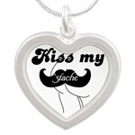 Kiss my stache Silver Heart Necklace