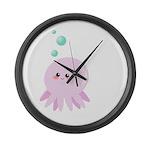 Cute pink octopus Large Wall Clock