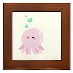 Cute pink octopus Framed Tile