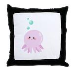 Cute pink octopus Throw Pillow