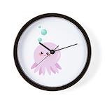 Cute pink octopus Wall Clock