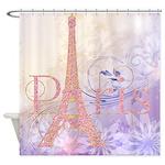 Pink Glitter Eiffel Tower Paris Shower Curtain
