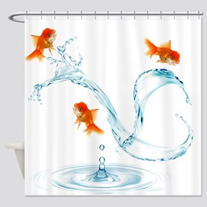 Splashing Goldfish Shower Curtain