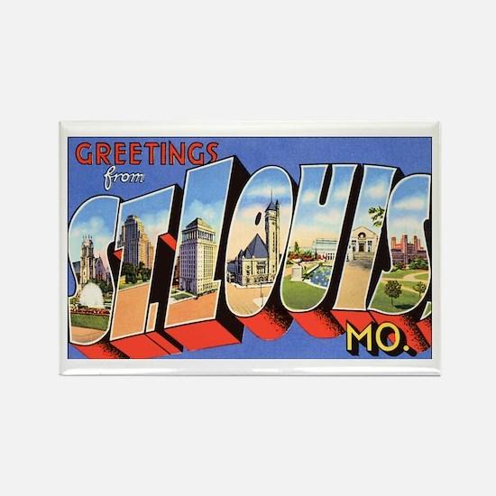 St Louis Missouri Greetings Rectangle Magnet (10 p