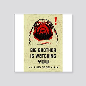 Big Brother Pug Rectangle Sticker