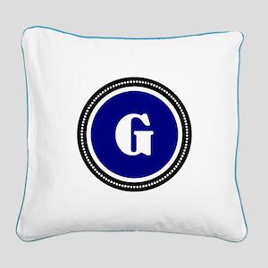 Blue Square Canvas Pillow