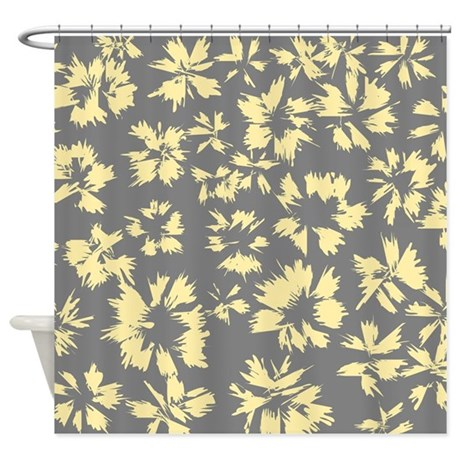 yellow and gray floral shower curtain by metarla2. Black Bedroom Furniture Sets. Home Design Ideas