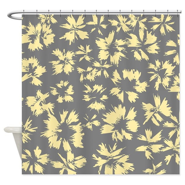 Yellow And Gray Floral. Shower Curtain By Metarla2