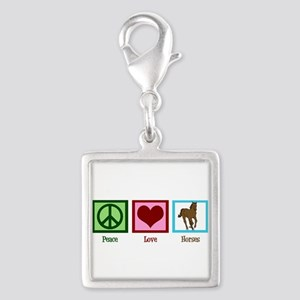 Peace Love Horses Silver Square Charm