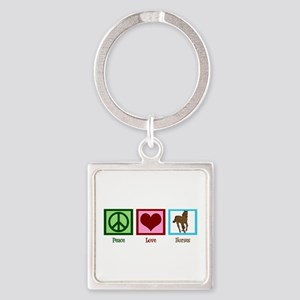 Peace Love Horses Square Keychain