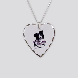 border collie dad Necklace Heart Charm