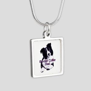 border collie dad Silver Square Necklace