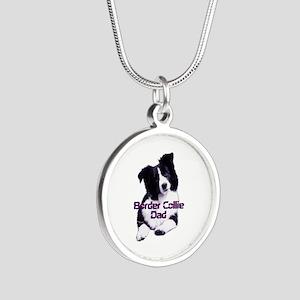 border collie dad Silver Round Necklace