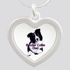 border collie dad Silver Heart Necklace