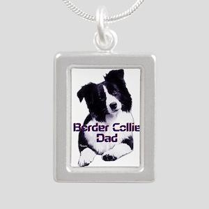 border collie dad Silver Portrait Necklace