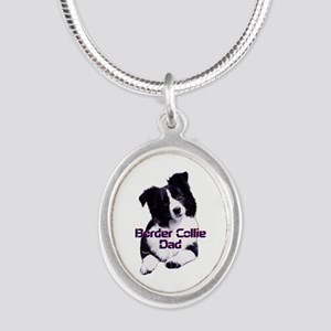 border collie dad Silver Oval Necklace