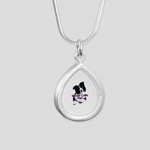 border collie dad Silver Teardrop Necklace