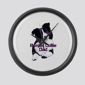 border collie dad Large Wall Clock