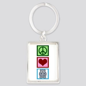 Peace Love Hippos Portrait Keychain
