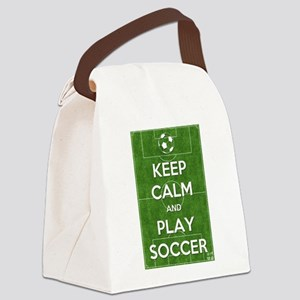 Keep Calm and Play Soccer Canvas Lunch Bag
