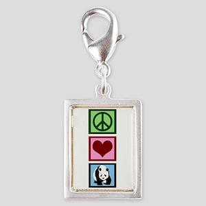 Peace Love Pandas Silver Portrait Charm