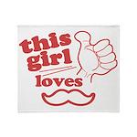 Girl Loves Mustache Throw Blanket