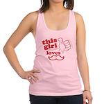 Girl Loves Mustache Racerback Tank Top