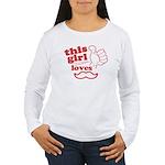 Girl Loves Mustache Long Sleeve T-Shirt
