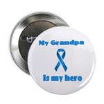 Grandpa is my hero(blue ribbon) Button