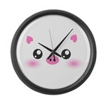 Cute Pig Large Wall Clock