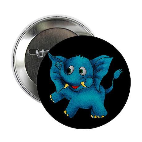"Cute Blue Elephant Button 2.25"""