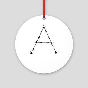 Barbed Wire Monogram A Ornament (Round)