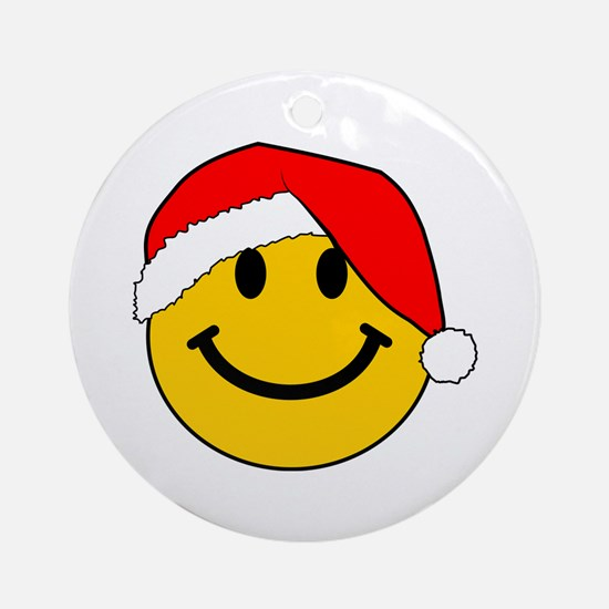 Christmas Santa Smiley Ornament (Round)
