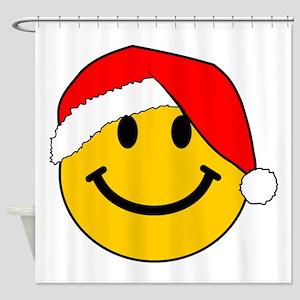 Christmas Santa Smiley Shower Curtain