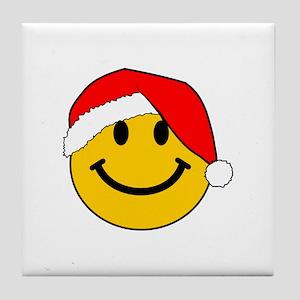 Christmas Santa Smiley Tile Coaster