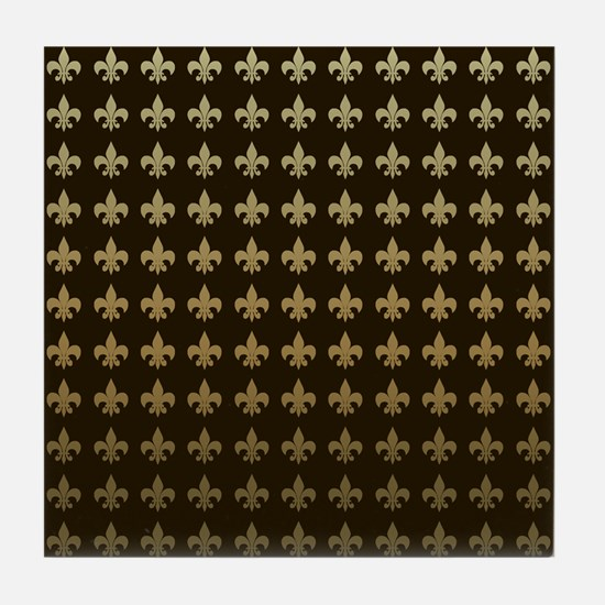 Chocolate Fleur de lis Tile Coaster