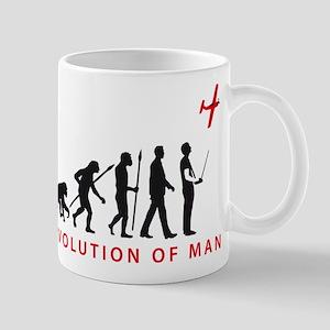 evolution of man with model plane Tasse