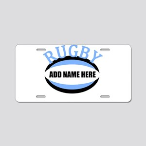 Rugby Add Name Light Blue Aluminum License Plate