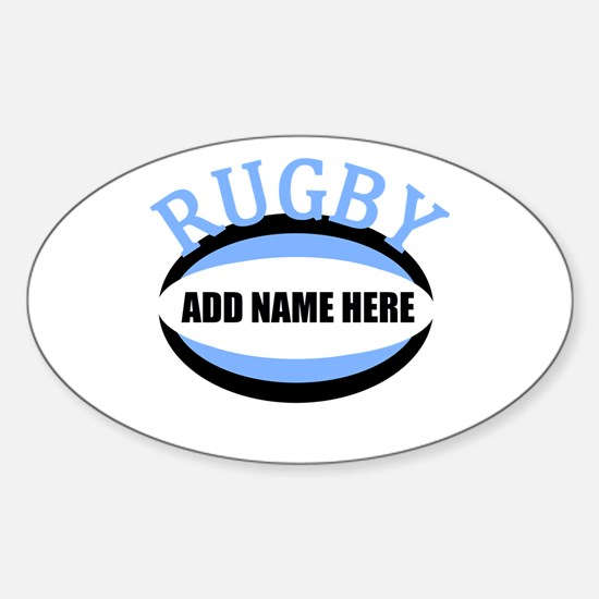 Rugby Add Name Light Blue Sticker (Oval)