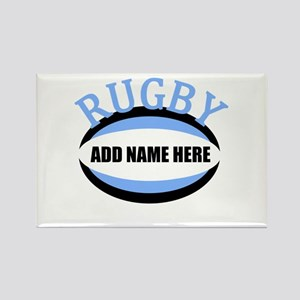Rugby Add Name Light Blue Rectangle Magnet