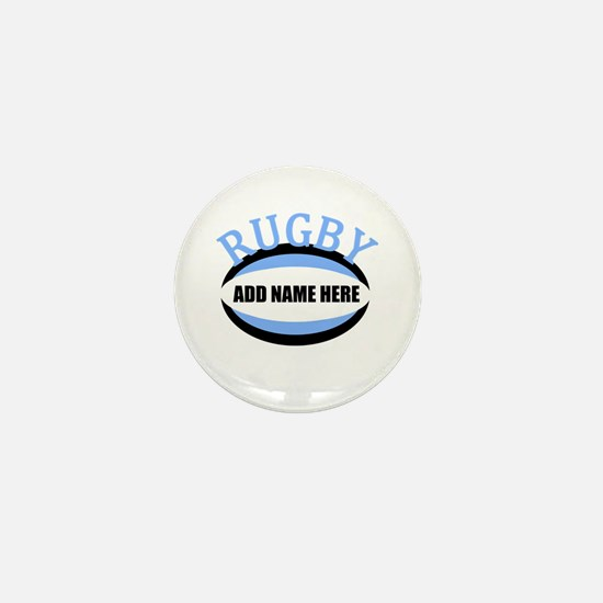 Rugby Add Name Light Blue Mini Button