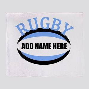 Rugby Add Name Light Blue Throw Blanket