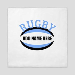 Rugby Add Name Light Blue Queen Duvet