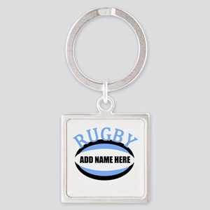 Rugby Add Name Light Blue Square Keychain