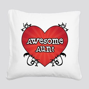 Tattoo Heart Awesome Aunt Square Canvas Pillow