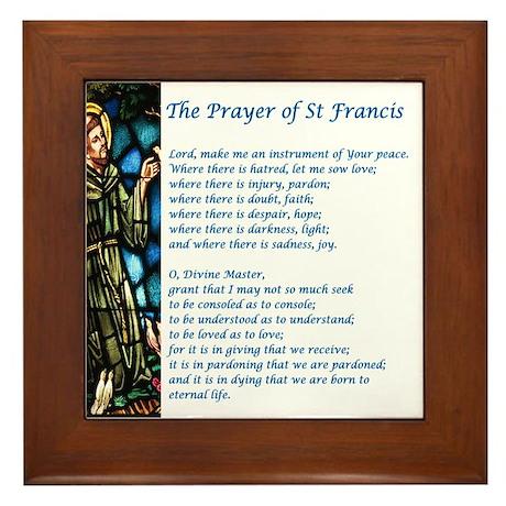 Wall Art. The St Francis Prayer Framed Tile  sc 1 st  CafePress & St Francis Prayer Wall Art - CafePress