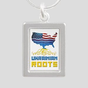 American Ukrainian Roots Silver Portrait Necklace