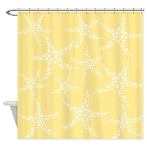 Yellow Starfish Shower Curtains
