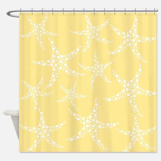 Dotty Starfish, Yellow. Shower Curtain